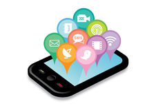 Phone Applications and icons Royalty Free Stock Photo