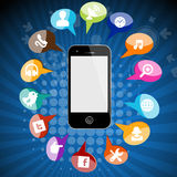 Phone Applications and icons Royalty Free Stock Images