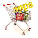 Phone apps shopping cart Royalty Free Stock Images