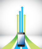Phone Arrow rising toward same direction success Royalty Free Stock Photography