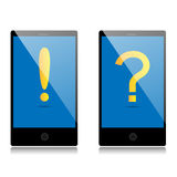 Phone with attention icon and phone with question icon Royalty Free Stock Photos