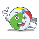 With phone ball character cartoon style Stock Image