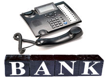Phone banking. Concept image of phone banking over white background Royalty Free Stock Photos