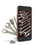 Phone and bench tools. Phone with a wrench, Allen key, a screwdriver on white background Stock Images