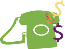 Phone Bill. Telephone Vector with Money Symbols royalty free illustration