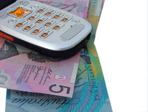 Phone bill. Cell phone on australian money royalty free stock photos