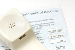 Phone bill statement of accounts. Statement of accounts to be paid by phone Royalty Free Stock Image