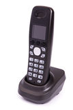 Phone of black color, digital, wireless, isolated. On a white background stock photo