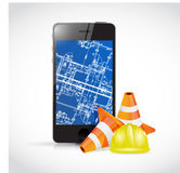 Phone blueprint design. technology concept Royalty Free Stock Photo