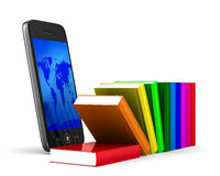 Phone and books on white background Stock Images