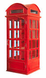 Phone booth. Details of a bright read phone booth.  White background Stock Photos