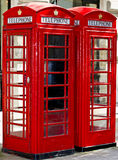 Phone booth. Two red phone booth in the street Royalty Free Stock Photography