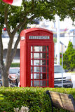 Phone booth. Unoccupied red euro phone booth Royalty Free Stock Images