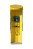 Phone booth. Yellow public phone booth isolated with clipping path Stock Photography