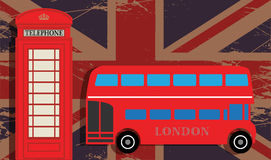 Phone booth. And red bus on UK flag Royalty Free Stock Images