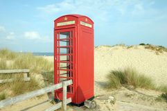 Phone booth on Studland Beac Stock Photography