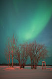 Phone Booth under the Northern Lights Stock Photography
