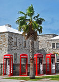 Phone booths in Bermuda. Red phone booths in a row in Bermuda Stock Photo