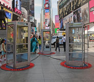 Phone Booths in Times Square. Listen to stories from 70 immigrant New Yorkers at this new installation of three Phone booths by Afghan-American artist Aman Royalty Free Stock Photography