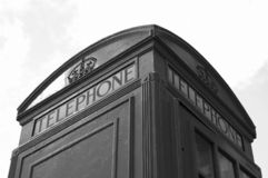 Phone box in London. Part of phone box in London, black&white Stock Photography