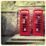 Phone boxes old photo Royalty Free Stock Photo