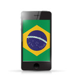 Phone with brazil flag illustration design Royalty Free Stock Image