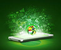 Phone and Brazil soccer concept. 3d cell phone with soccer ball Stock Images