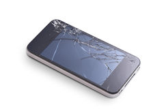 Phone with broken display. Photo of phone with broken display screen on white stock image