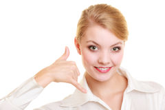 Phone. Businesswoman making call me gesture Royalty Free Stock Photos
