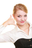 Phone. Businesswoman making call me gesture Royalty Free Stock Image