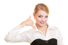 Phone. Businesswoman making call me gesture Royalty Free Stock Photo