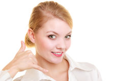 Phone. Businesswoman making call me gesture Royalty Free Stock Images