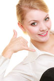 Phone. Businesswoman making call me gesture Stock Photography