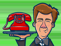 Phone Butler Cartoon Stock Images