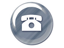 Phone button chrome. Chrome telephone button on white isolate background royalty free illustration