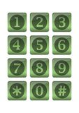 Phone buttons in green gradient design Stock Photography