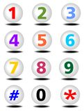 Phone buttons set with colored numbers Stock Photos