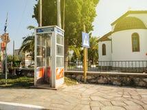 Phone cabine cardphone in Greece Stock Photos