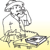 Phone call. Hand drawn image of a famer making phone call royalty free illustration