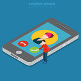 Phone call answer interface app technology flat isometric vector Stock Photos
