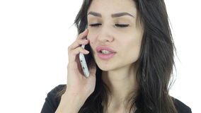 Phone Call, Business Woman Talking On Smartphone, White Background,Young. Phone Call, Business Woman Talking On Smartphone, White Background , young creative stock video footage