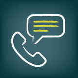 Phone call chalk icon with speech bubble Royalty Free Stock Photos
