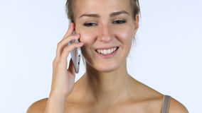 Phone Call, Close up of Talking Girl, White Background Royalty Free Stock Image