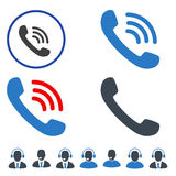 Phone Call Flat Icons. Phone Call flat vector pictograph set. An isolated icons on a white background royalty free illustration