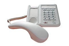 Phone Call On Hold Isolated. Telephone with the receiver off the hook on an isolated white background with a clipping path Stock Photo