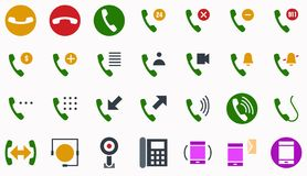 Phone call icon symbol flat color. Editable stroke and color royalty free illustration