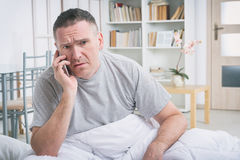 Phone call in morning Stock Photo