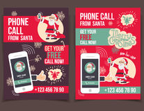 Phone call from Santa flyers design Royalty Free Stock Images