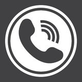Phone Call solid icon, contact us and website. Button, vector graphics, a filled pattern on a black background, eps 10 Stock Images