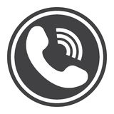 Phone Call solid icon, contact us and website. Button, vector graphics, a filled pattern on a white background, eps 10 Royalty Free Stock Photography
